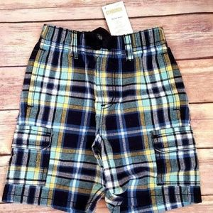 Nwt Gymboree Boys 18-24M Plaid Cargo Shorts